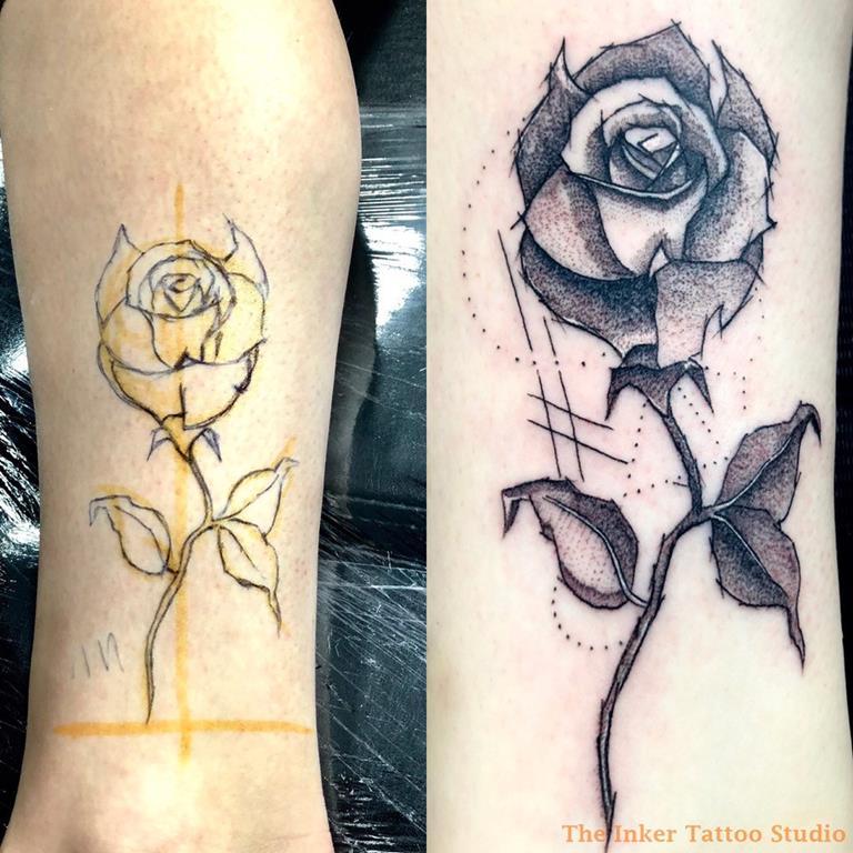 rosa tatuada freehand